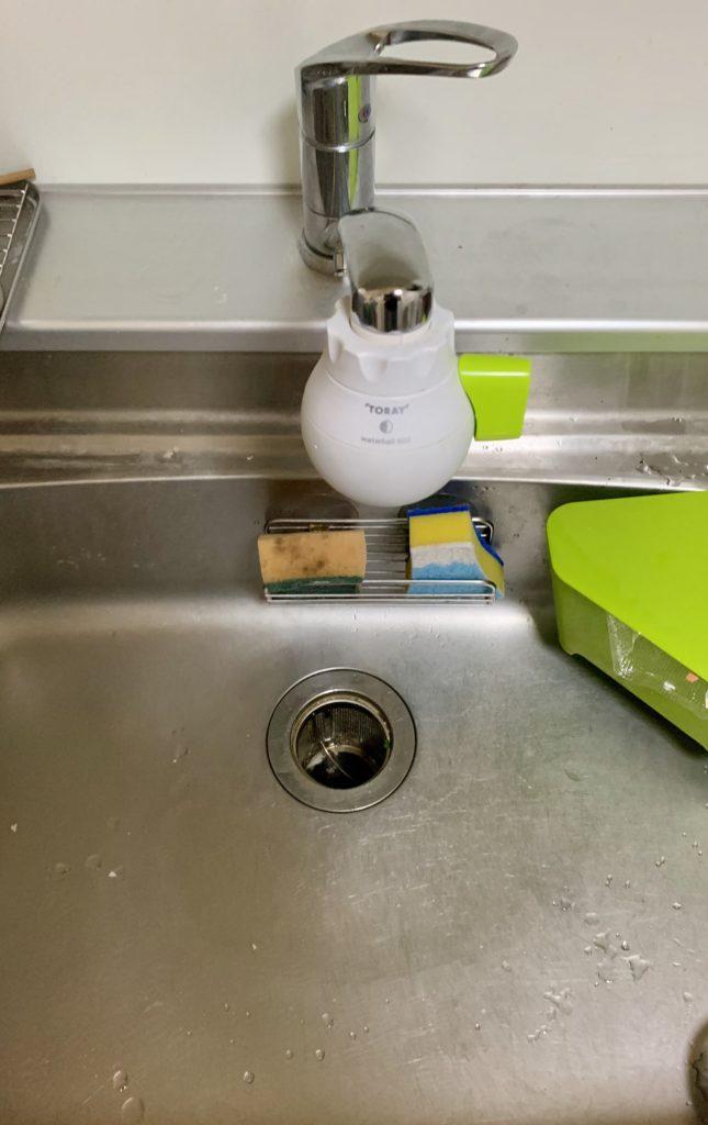 江別市で台所蛇口の水漏れ修理を行いました。